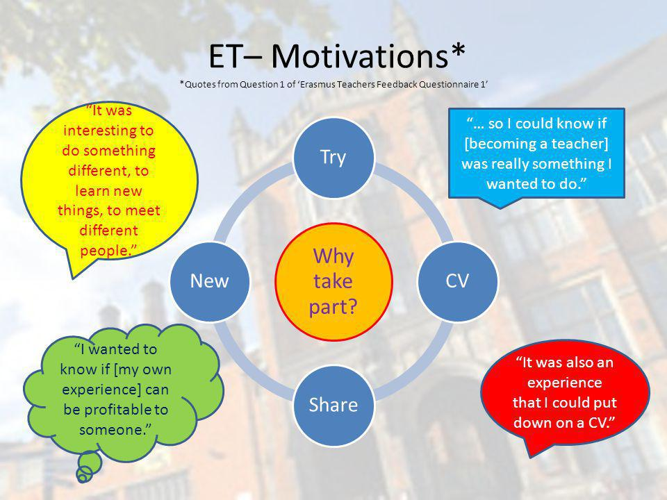 ET– Motivations* * Quotes from Question 1 of Erasmus Teachers Feedback Questionnaire 1 Why take part.