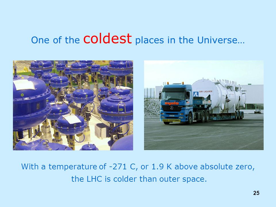 25 One of the coldest places in the Universe… With a temperature of -271 C, or 1.9 K above absolute zero, the LHC is colder than outer space.