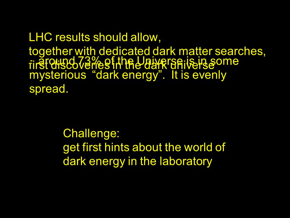 LHC results should allow, together with dedicated dark matter searches, first discoveries in the dark universe around 73% of the Universe is in some mysterious dark energy.