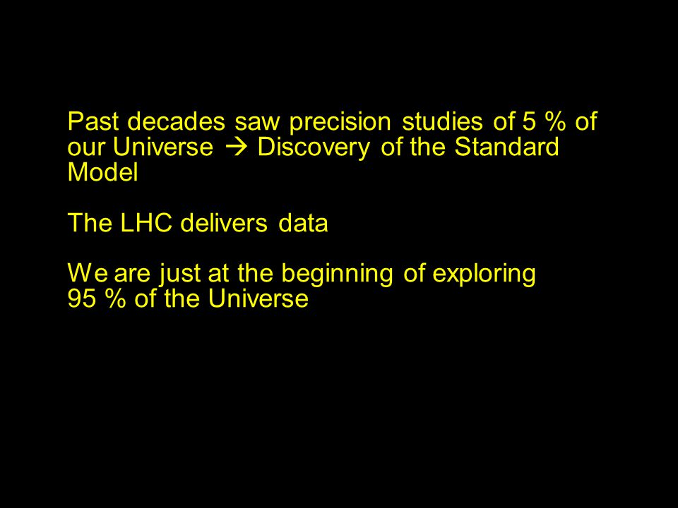 Past decades saw precision studies of 5 % of our Universe Discovery of the Standard Model The LHC delivers data We are just at the beginning of exploring 95 % of the Universe