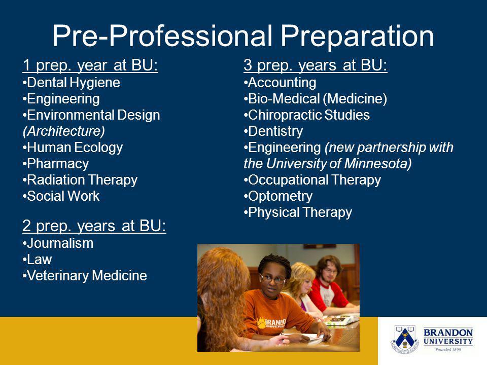 Pre-Professional Preparation 1 prep.