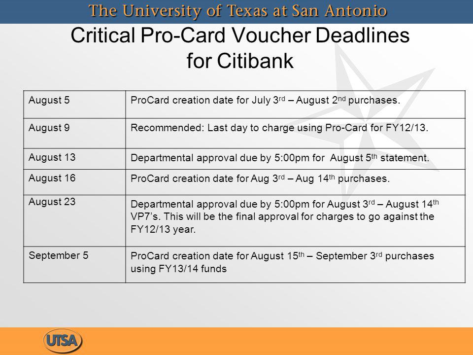 Critical Pro-Card Voucher Deadlines for Citibank August 5ProCard creation date for July 3 rd – August 2 nd purchases.