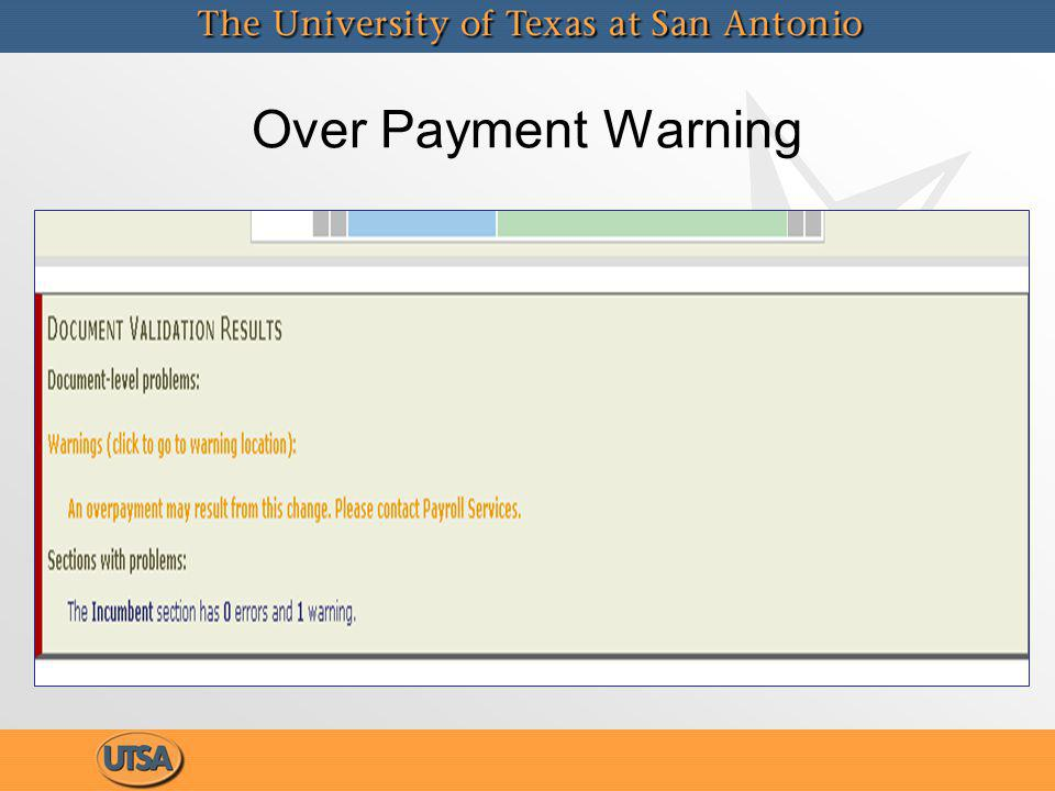 Over Payment Warning