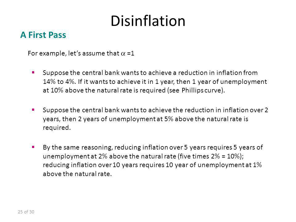 25 of 30 For example, lets assume that =1 Suppose the central bank wants to achieve a reduction in inflation from 14% to 4%. If it wants to achieve it