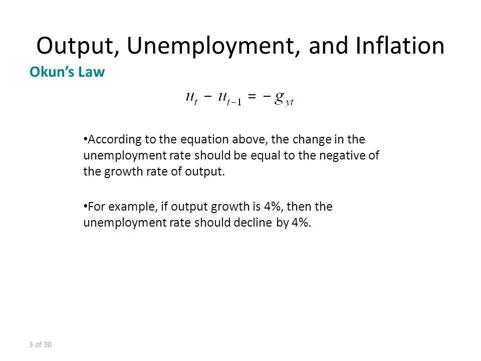 3 of 30 According to the equation above, the change in the unemployment rate should be equal to the negative of the growth rate of output. For example