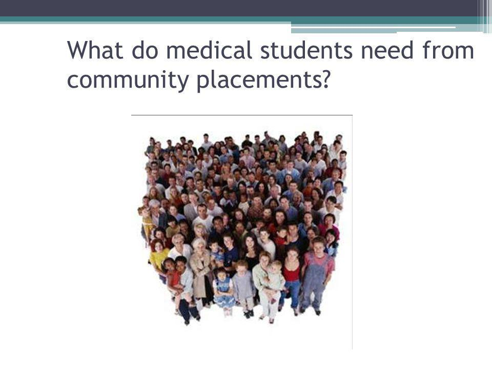 What do medical students need from community placements