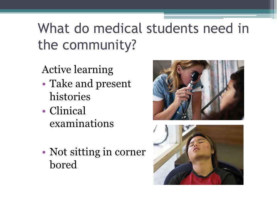 What do medical students need in the community? Active learning Take and present histories Clinical examinations Not sitting in corner bored