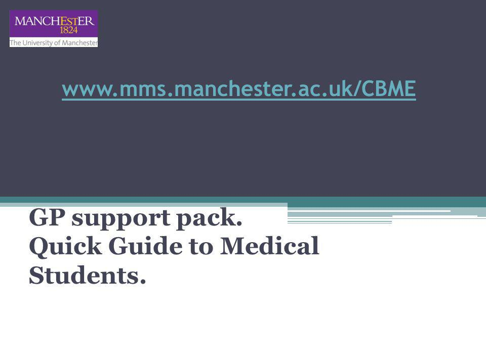 www.mms.manchester.ac.uk/CBME GP support pack. Quick Guide to Medical Students.