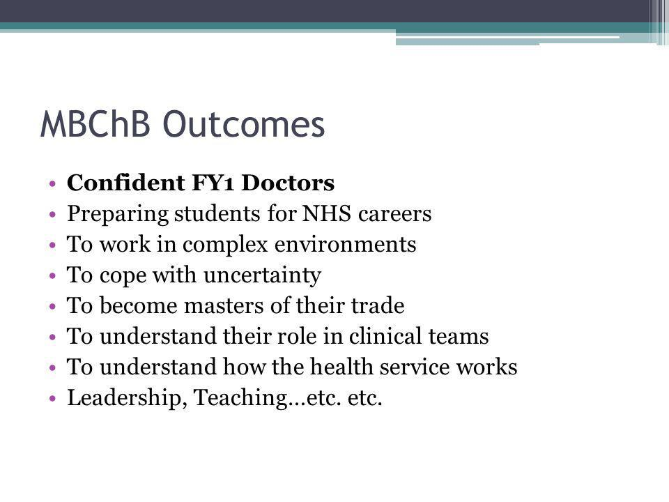 MBChB Outcomes Confident FY1 Doctors Preparing students for NHS careers To work in complex environments To cope with uncertainty To become masters of their trade To understand their role in clinical teams To understand how the health service works Leadership, Teaching…etc.