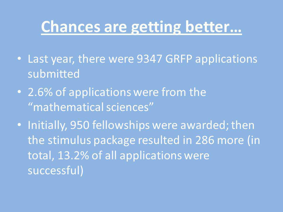 Chances are getting better… Last year, there were 9347 GRFP applications submitted 2.6% of applications were from the mathematical sciences Initially, 950 fellowships were awarded; then the stimulus package resulted in 286 more (in total, 13.2% of all applications were successful)