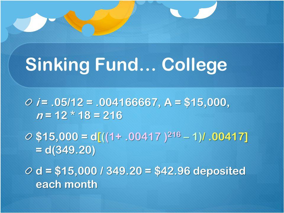 Sinking Fund… College i =.05/12 =.004166667, A = $15,000, n = 12 * 18 = 216 $15,000 = d[((1+.00417 ) 216 – 1)/.00417] = d(349.20) d = $15,000 / 349.20