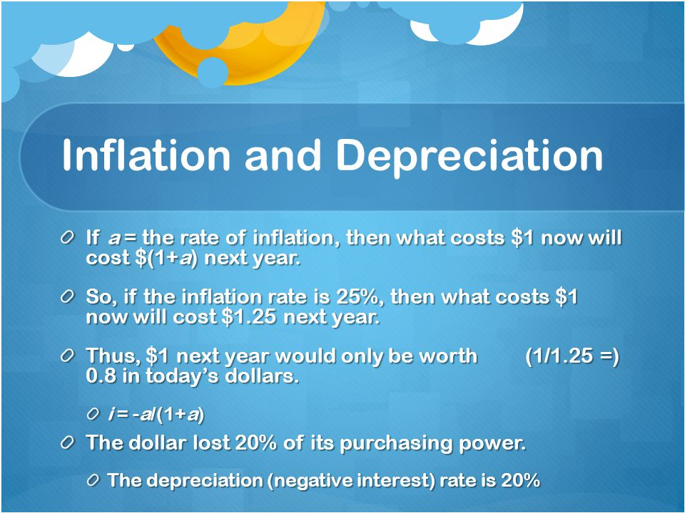 Inflation and Depreciation If a = the rate of inflation, then what costs $1 now will cost $(1+a) next year.