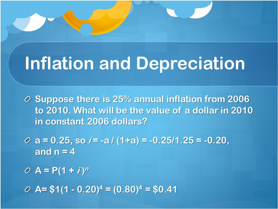 Inflation and Depreciation Suppose there is 25% annual inflation from 2006 to 2010. What will be the value of a dollar in 2010 in constant 2006 dollar