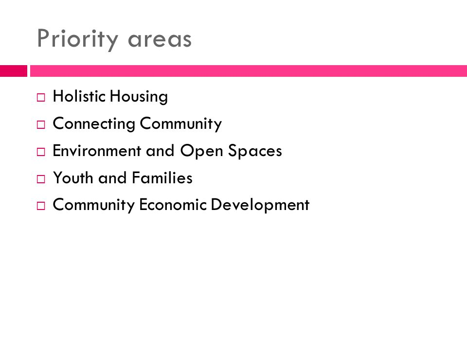 Priority areas Holistic Housing Connecting Community Environment and Open Spaces Youth and Families Community Economic Development