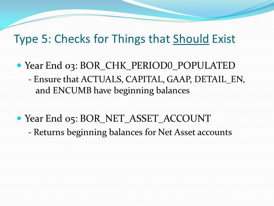 Year End 03: BOR_CHK_PERIOD 0 _POPULATED - Ensure that ACTUALS, CAPITAL, GAAP, DETAIL_EN, and ENCUMB have beginning balances Year End 05: BOR_NET_ASSE