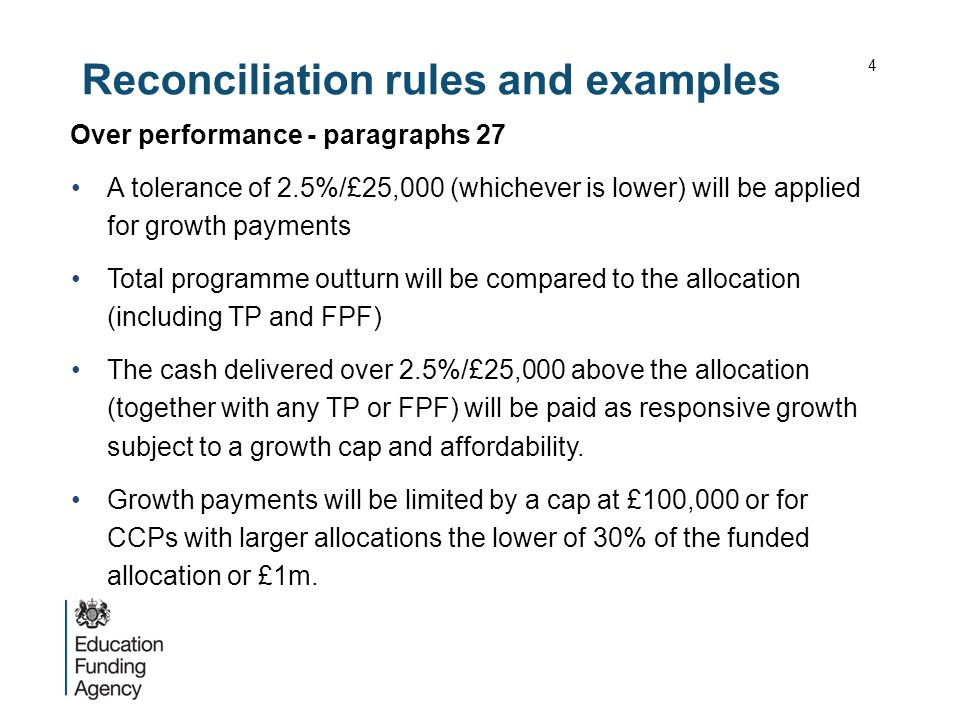 Reconciliation rules and examples Over performance - paragraphs 27 A tolerance of 2.5%/£25,000 (whichever is lower) will be applied for growth payment