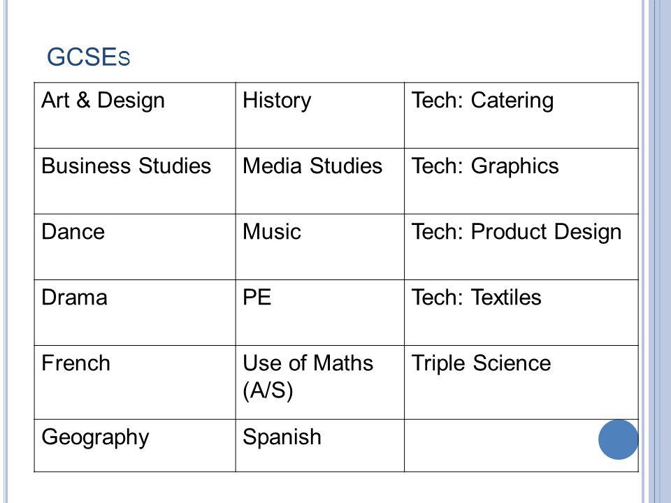 GCSE S Art & DesignHistoryTech: Catering Business StudiesMedia StudiesTech: Graphics DanceMusicTech: Product Design DramaPETech: Textiles FrenchUse of