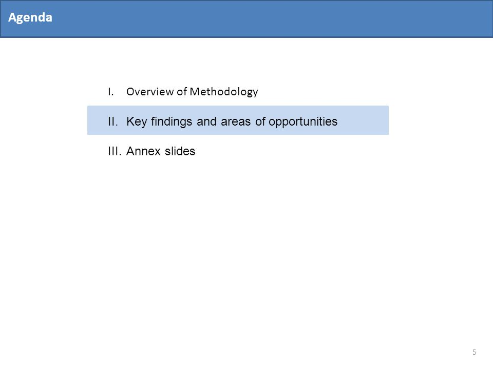 Agenda 5 I.Overview of Methodology II.Key findings and areas of opportunities III.Annex slides