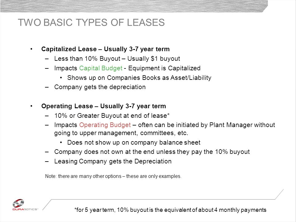 TWO BASIC TYPES OF LEASES Capitalized Lease – Usually 3-7 year term –Less than 10% Buyout – Usually $1 buyout –Impacts Capital Budget - Equipment is Capitalized Shows up on Companies Books as Asset/Liability –Company gets the depreciation Operating Lease – Usually 3-7 year term –10% or Greater Buyout at end of lease* –Impacts Operating Budget – often can be initiated by Plant Manager without going to upper management, committees, etc.