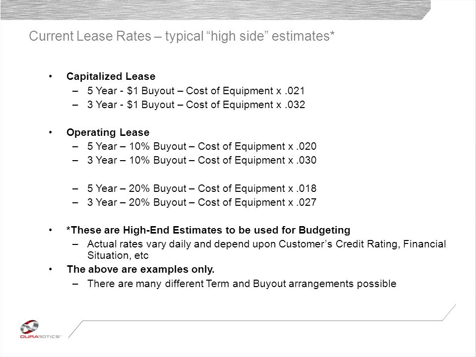 Current Lease Rates – typical high side estimates* Capitalized Lease –5 Year - $1 Buyout – Cost of Equipment x.021 –3 Year - $1 Buyout – Cost of Equipment x.032 Operating Lease –5 Year – 10% Buyout – Cost of Equipment x.020 –3 Year – 10% Buyout – Cost of Equipment x.030 –5 Year – 20% Buyout – Cost of Equipment x.018 –3 Year – 20% Buyout – Cost of Equipment x.027 *These are High-End Estimates to be used for Budgeting –Actual rates vary daily and depend upon Customers Credit Rating, Financial Situation, etc The above are examples only.