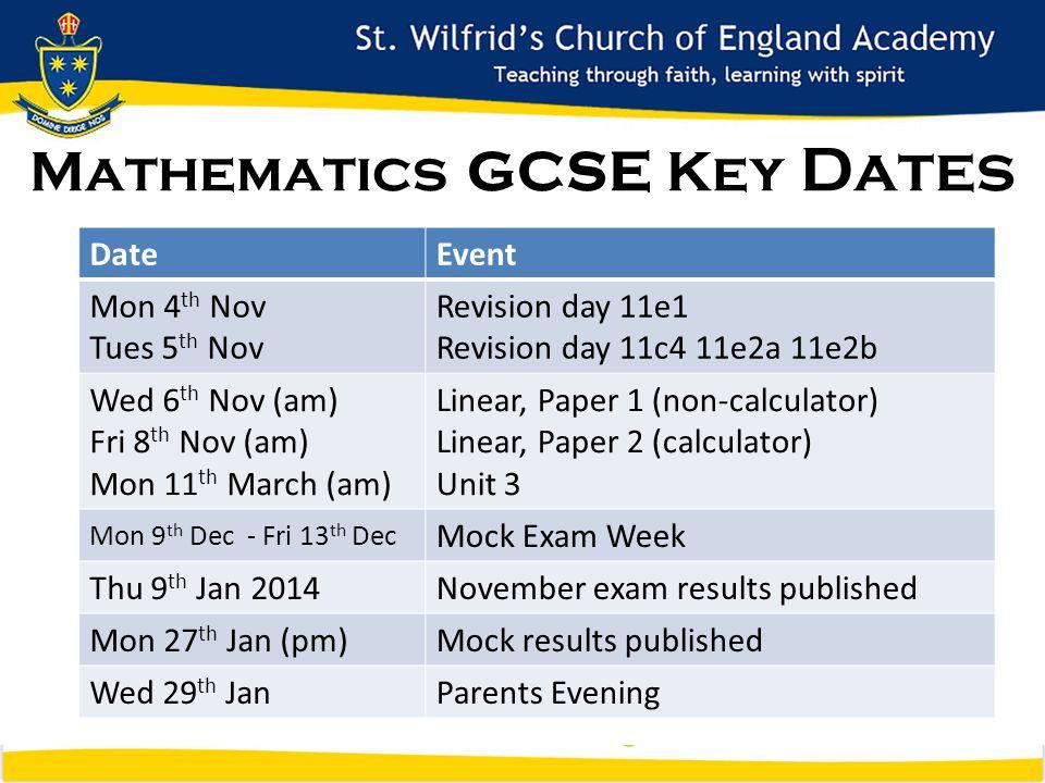 Mathematics GCSE Key Dates DateEvent Mon 4 th Nov Tues 5 th Nov Revision day 11e1 Revision day 11c4 11e2a 11e2b Wed 6 th Nov (am) Fri 8 th Nov (am) Mon 11 th March (am) Linear, Paper 1 (non-calculator) Linear, Paper 2 (calculator) Unit 3 Mon 9 th Dec - Fri 13 th Dec Mock Exam Week Thu 9 th Jan 2014November exam results published Mon 27 th Jan (pm)Mock results published Wed 29 th JanParents Evening