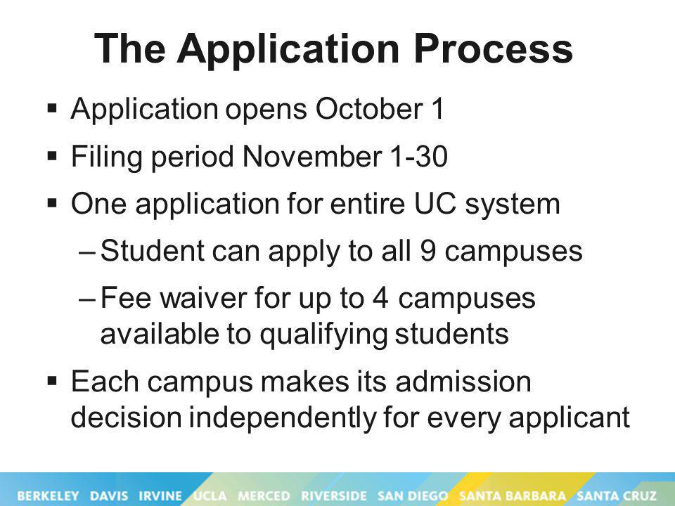 The Application Process Application opens October 1 Filing period November 1-30 One application for entire UC system –Student can apply to all 9 campuses –Fee waiver for up to 4 campuses available to qualifying students Each campus makes its admission decision independently for every applicant