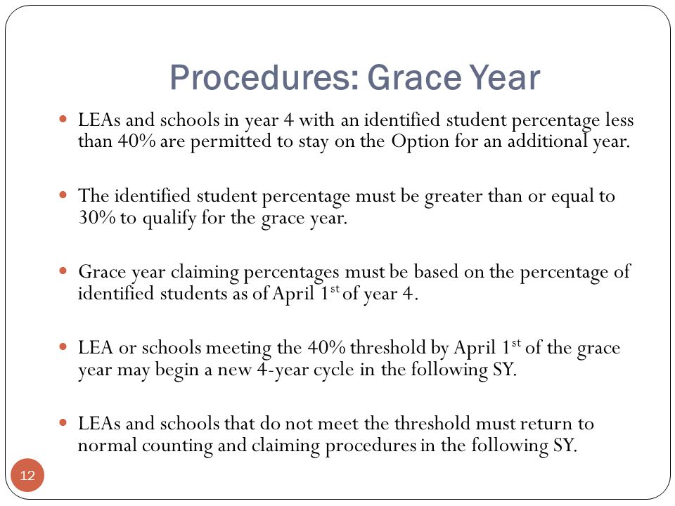 Procedures: Grace Year LEAs and schools in year 4 with an identified student percentage less than 40% are permitted to stay on the Option for an additional year.