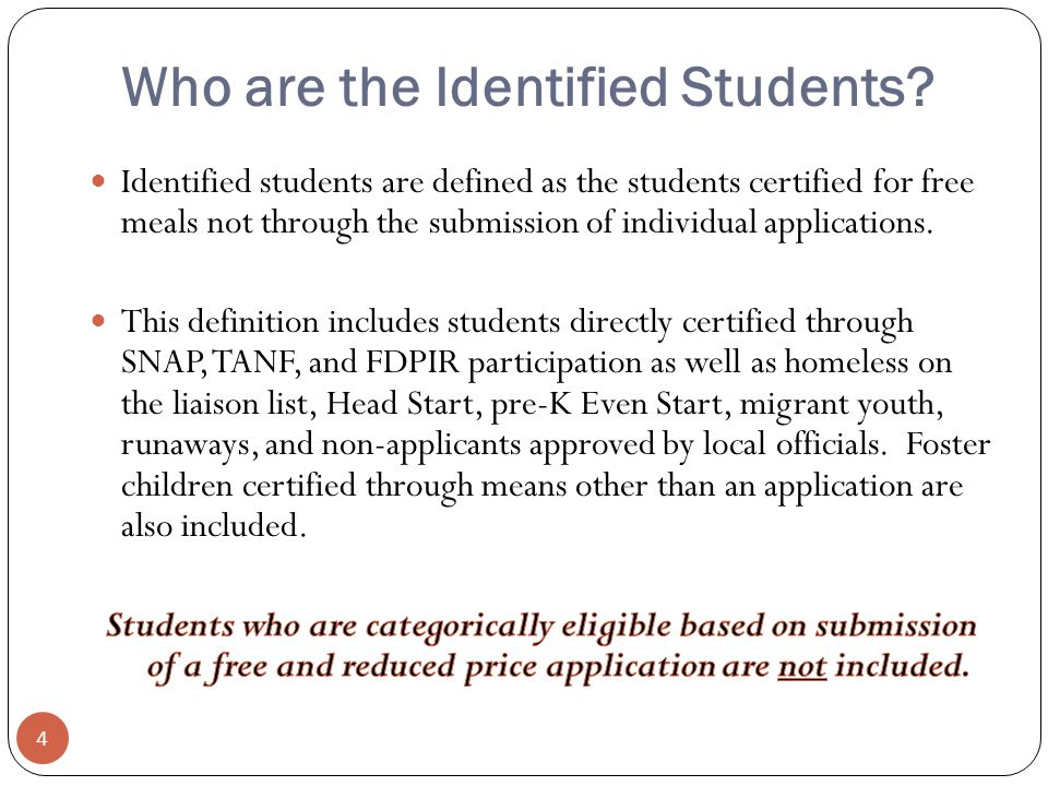Who are the Identified Students 4