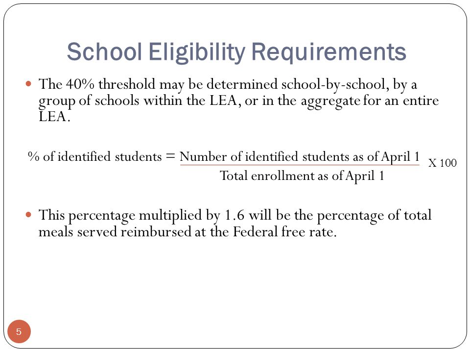 School Eligibility Requirements 5 The 40% threshold may be determined school-by-school, by a group of schools within the LEA, or in the aggregate for an entire LEA.