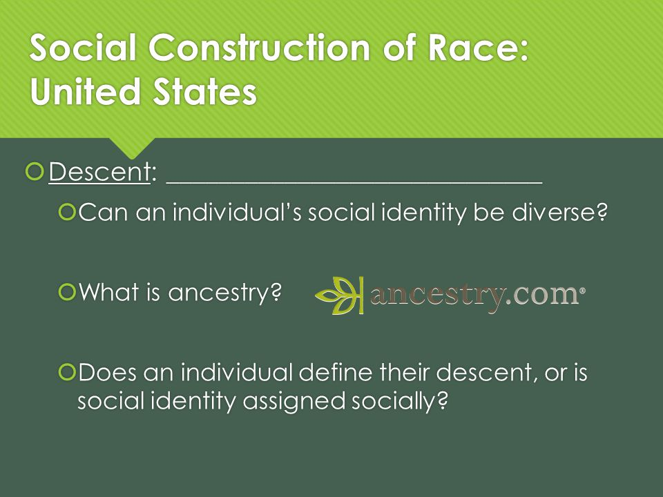 Social Construction of Race: United States Descent: _____________________________ Can an individuals social identity be diverse.