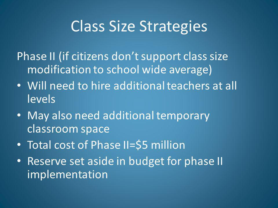 Class Size Strategies Phase II (if citizens dont support class size modification to school wide average) Will need to hire additional teachers at all levels May also need additional temporary classroom space Total cost of Phase II=$5 million Reserve set aside in budget for phase II implementation