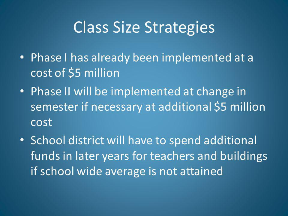 Class Size Strategies Phase I has already been implemented at a cost of $5 million Phase II will be implemented at change in semester if necessary at additional $5 million cost School district will have to spend additional funds in later years for teachers and buildings if school wide average is not attained