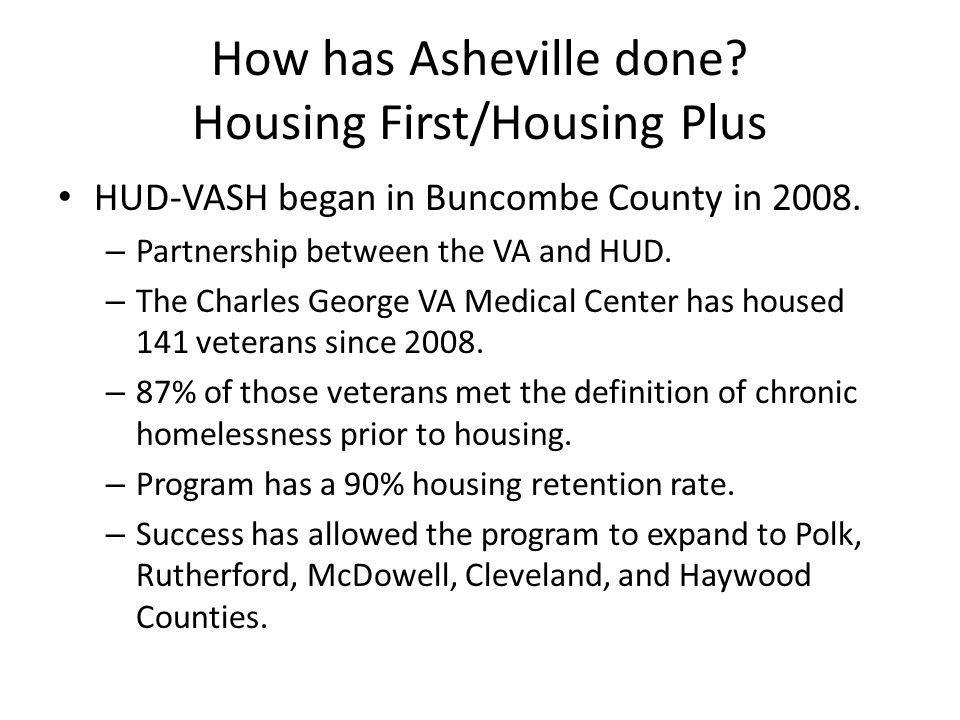 How has Asheville done. Housing First/Housing Plus HUD-VASH began in Buncombe County in 2008.