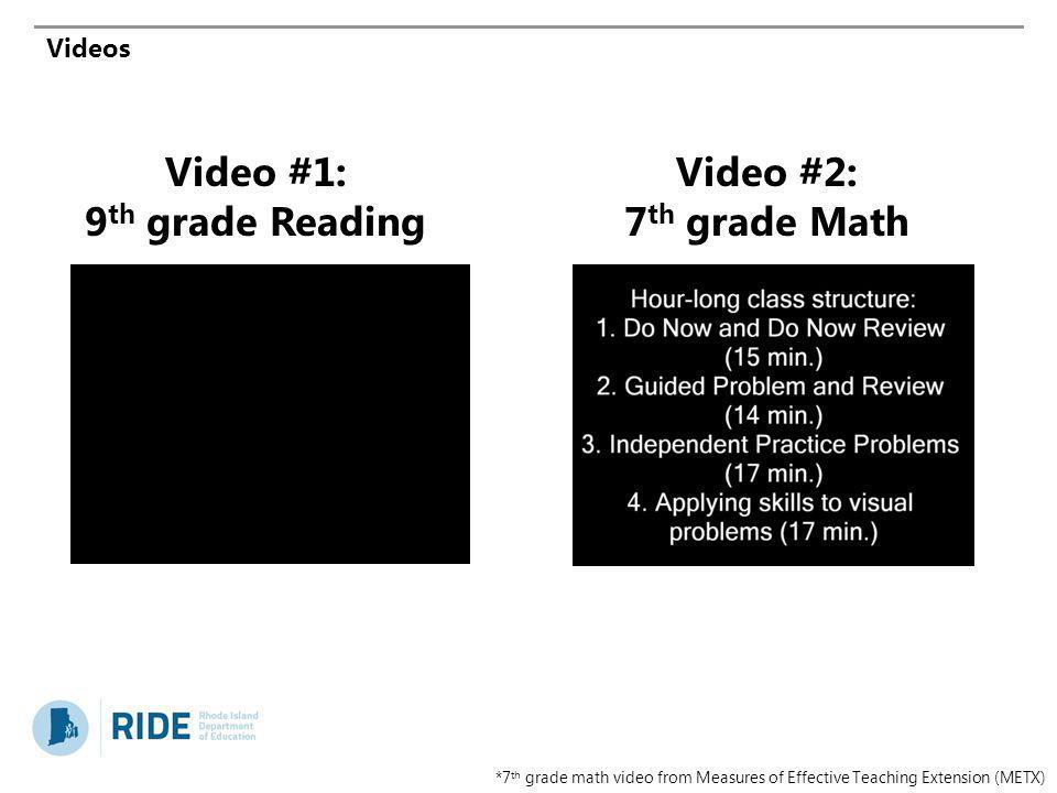 Videos Video #1: 9 th grade Reading Video #2: 7 th grade Math *7 th grade math video from Measures of Effective Teaching Extension (METX)