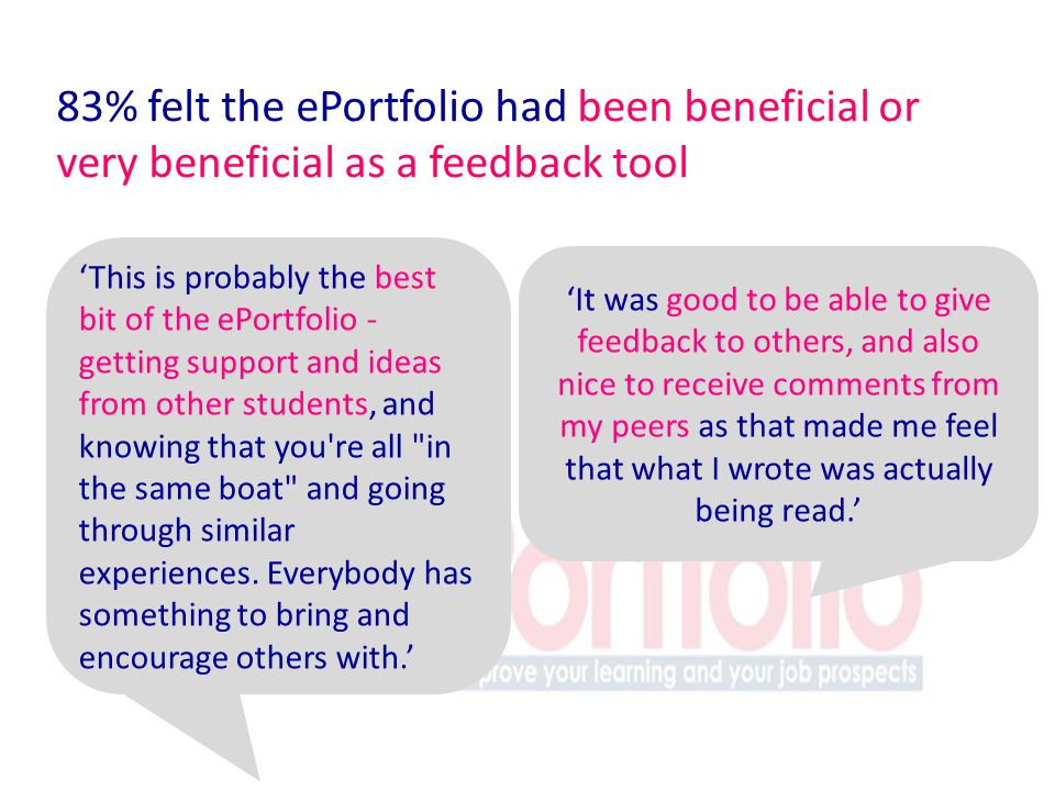 83% felt the ePortfolio had been beneficial or very beneficial as a feedback tool This is probably the best bit of the ePortfolio - getting support and ideas from other students, and knowing that you re all in the same boat and going through similar experiences.