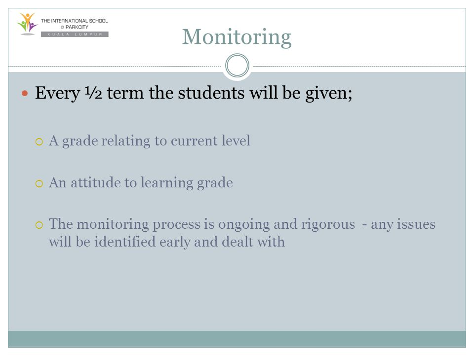 Monitoring Every ½ term the students will be given; A grade relating to current level An attitude to learning grade The monitoring process is ongoing