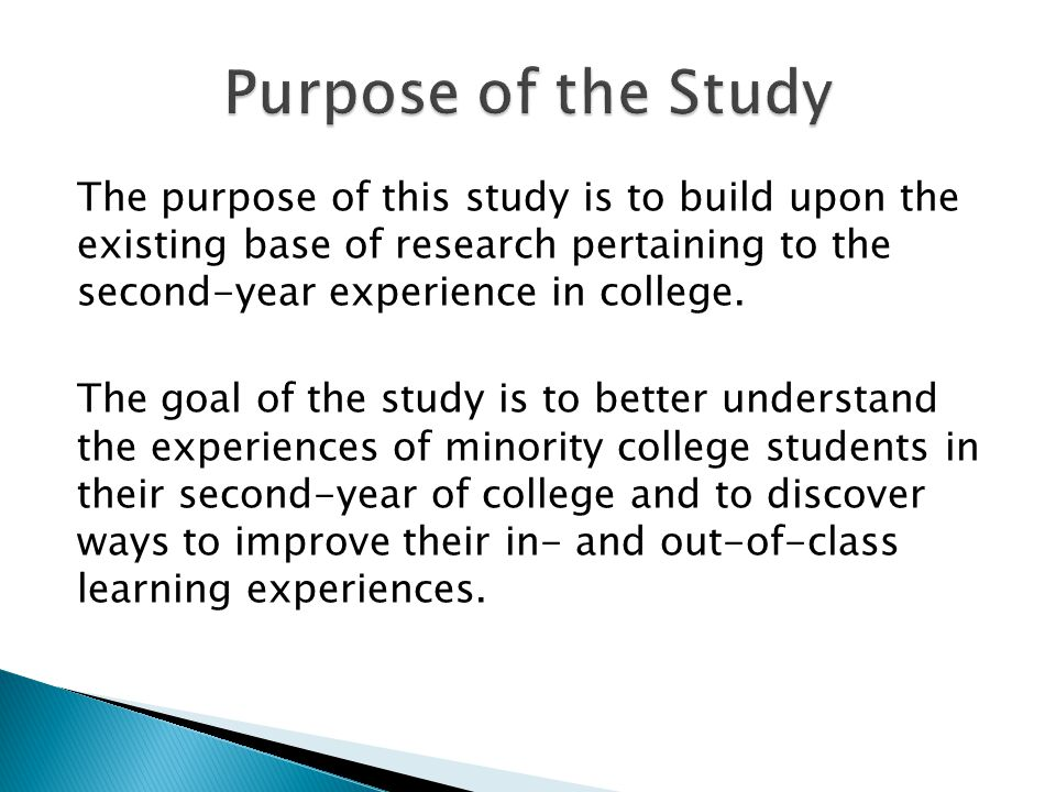 The purpose of this study is to build upon the existing base of research pertaining to the second-year experience in college.