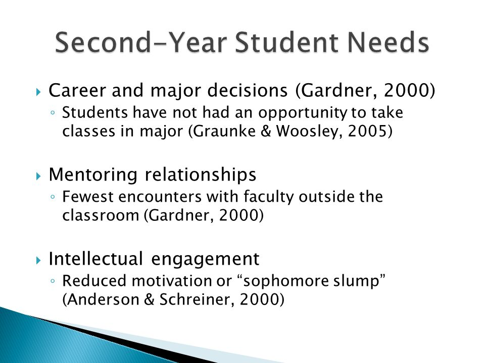 Career and major decisions (Gardner, 2000) Students have not had an opportunity to take classes in major (Graunke & Woosley, 2005) Mentoring relations