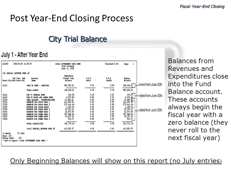 Fiscal Year-End Closing Post Year-End Closing Process Balances from Revenues and Expenditures close into the Fund Balance account. These accounts alwa