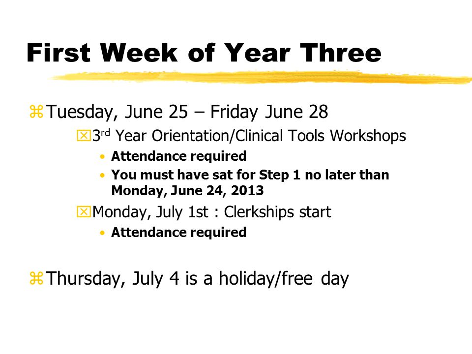First Week of Year Three zTuesday, June 25 – Friday June 28 x3 rd Year Orientation/Clinical Tools Workshops Attendance required You must have sat for