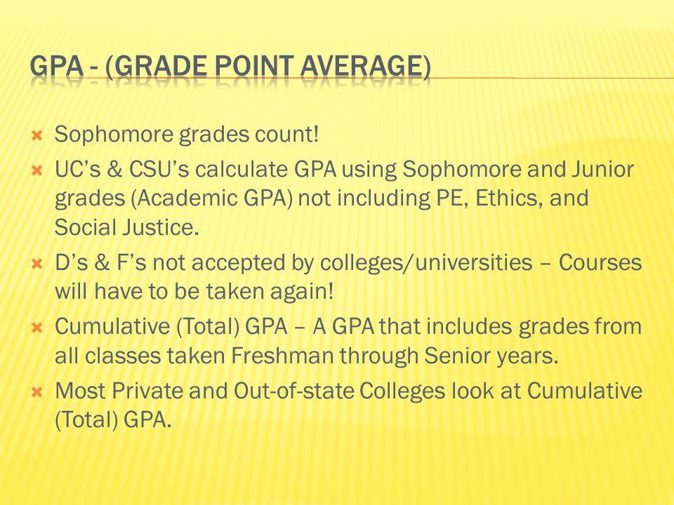 Sophomore grades count.