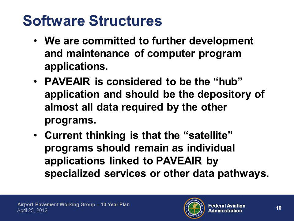 10 Federal Aviation Administration Airport Pavement Working Group – 10-Year Plan April 25, 2012 Software Structures We are committed to further develo