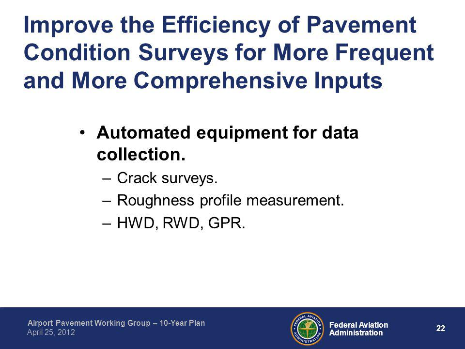 22 Federal Aviation Administration Airport Pavement Working Group – 10-Year Plan April 25, 2012 Improve the Efficiency of Pavement Condition Surveys f