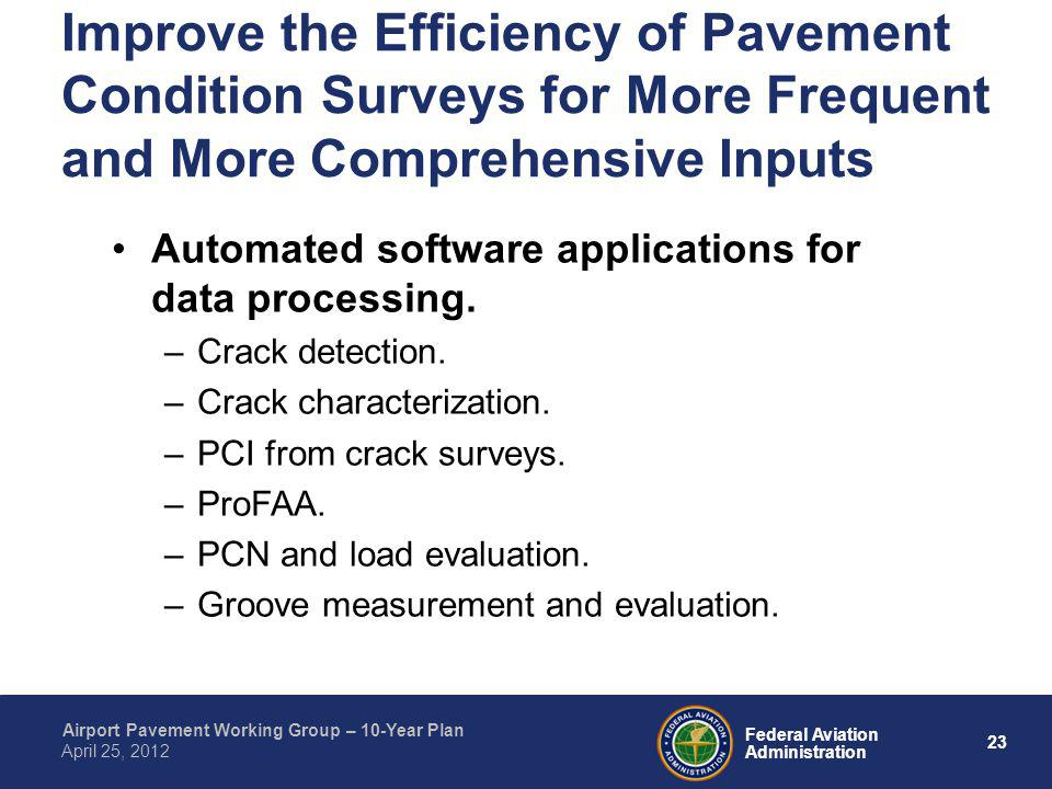 23 Federal Aviation Administration Airport Pavement Working Group – 10-Year Plan April 25, 2012 Improve the Efficiency of Pavement Condition Surveys f