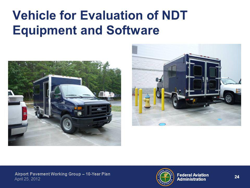 24 Federal Aviation Administration Airport Pavement Working Group – 10-Year Plan April 25, 2012 Vehicle for Evaluation of NDT Equipment and Software