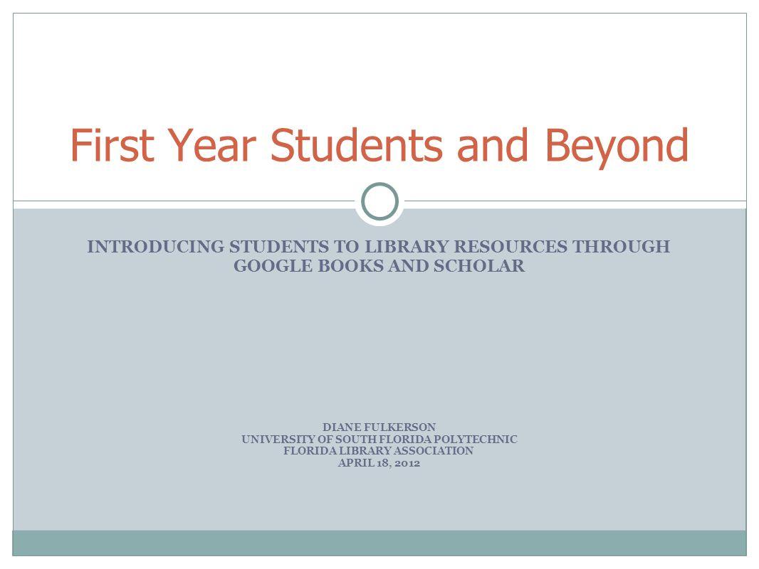 Why use Google Scholar/Books.