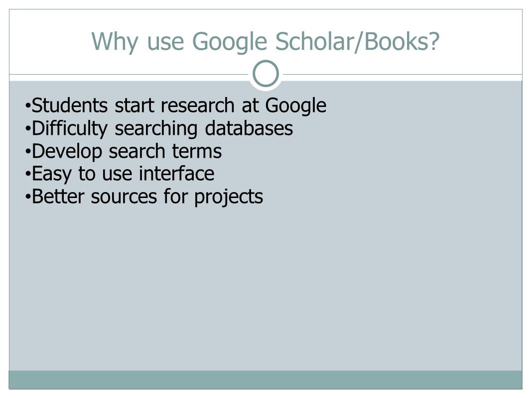 USF Poly and Library Instruction Increased number of instruction sessions Added Google class to Open Door Sessions Created handout for Google Scholar Incorporated Google Scholar/Books into instruction Google Scholar/USF Database connection Off-campus access