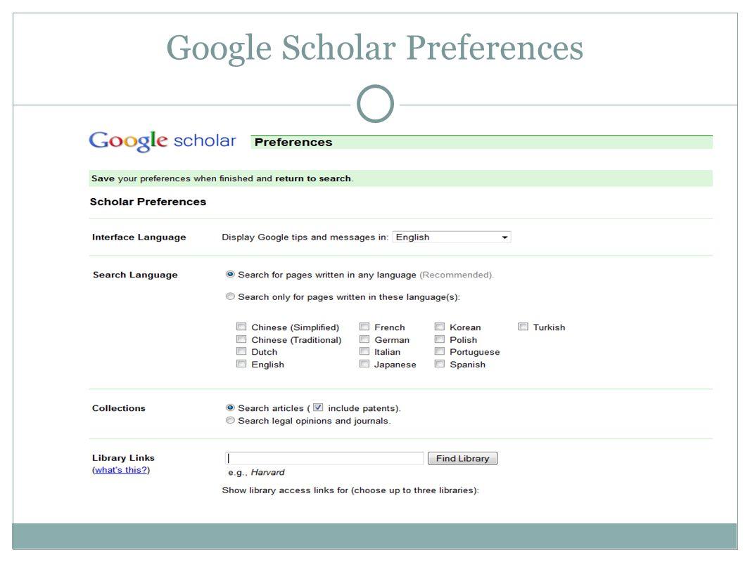 Advanced Scholar Search