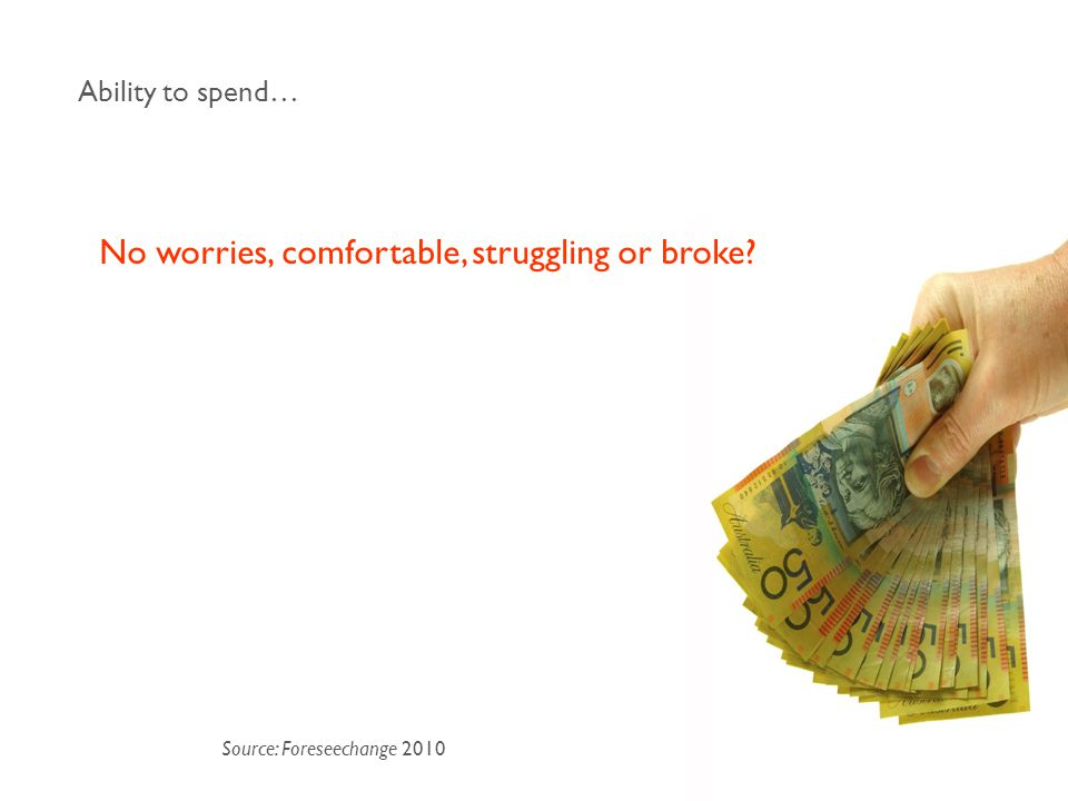 No worries, comfortable, struggling or broke? Ability to spend… Source: Foreseechange 2010