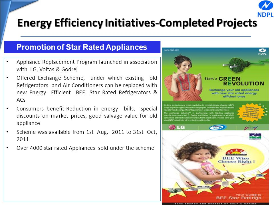 Energy Efficiency Initiatives-Completed Projects Appliance Replacement Program launched in association with LG, Voltas & Godrej Offered Exchange Schem